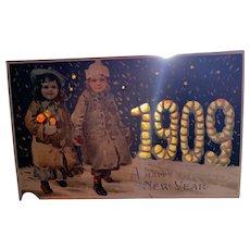 Hold to the Light 1909 A Happy New Year Children Winter Wonderland Postcard