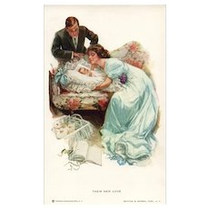 Their new Love Mother and father with Baby Artist signed Charles Scribner Postcard