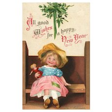 Signed Ellen Clapsaddle New Year girl on Bench with Doll Vintage Postcard