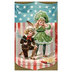 Vintage Patriotic Fourth of July Postcard  Boy Girl Firecrackers Independence Day Series 109