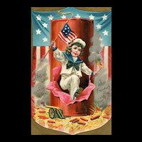Raphael Tuck & son Patriotic Independence Day Series No 104 vintage Postcard Fourth of July