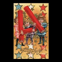 1910 Nash Patriotic Fourth of July vintage Postcard children with firecrackers Series 4
