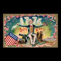 Vintage Patriotic Uncle Sam Fourth of July Eagle Postcard