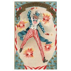 Early 1900's Patriotic Uncle Sam Fourth of July Postcard