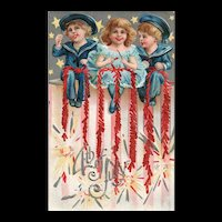 Patriotic Fourth of July Series No 4 Children with Firecrackers Sailors Nash