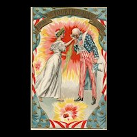 Early 1900's Patriotic Uncle Sam Kisses Miss Liberty Hand Fourth of July Postcard