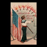 1909 Hurrah for the Glorious Fourth Vintage Postcard Firecrackers American Flag