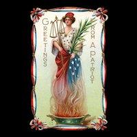Patriotic Miss Liberty Patriot vintage Nash vintage Postcard