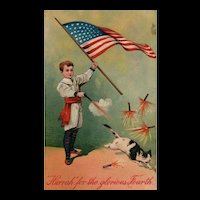 1908 Vintage Patriotic Fourth of July Postcard PFB No 8252 Boy shoots Cat with Firecrackers