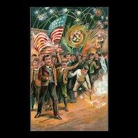 1 of 2 Vintage Patriotic Postcard  Fourth of July American Flag Fireworks Series 746