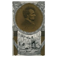 Commemoration of 100th Anniversary of Abe Lincoln Birthday vintage Postcard