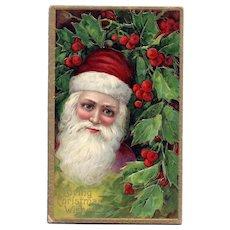 Beautiful blue eyed Santa Claus Series 1480 Vintage Christmas Postcard