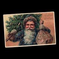 Closeup PFB Blue robed Santa Claus Gold gilt Tree Toys Christmas postcard