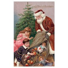 Brown Robed Gold gilt embossed Santa Claus Tips toys for Children Christmas Postcard