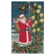 Elegant Silk Santa Claus rings bells Vintage Christmas Postcard