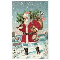 Early 1906 Red Silk Santa Claus Patriotic American Flag P Sander Christmas Postcard