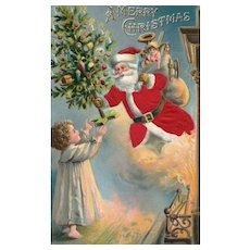 Magical Christmas Santa Claus coming out of the fireplace like Magic Vintage Postcard