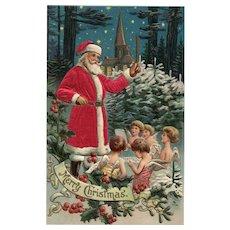 Silk Robed Santa Conducts Choir of angels vintage Christmas postcard