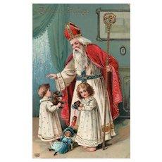 EAS Gold Gilt Gel  Saint Nicholas with children toys Vintage Santa Claus Christmas postcard