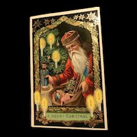 Gold Gilt Gel Red Robed Santa Claus with toys  Series 7159 Samson Brothers Christmas Postcard
