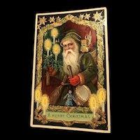 Rare Green Robed Gold Gilt Gel Samson Brothers 7159 A Series Vintage Christmas Postcard