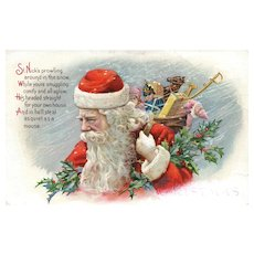 St Nicks Prowling around in the Snow Vintage Santa Claus Christmas Postcard