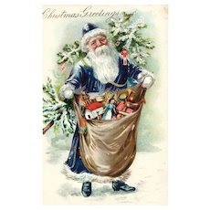 Early 1906 & Beautiful Blue - Purple Robed Santa Claus  by Tuck Vintage Christmas Postcard