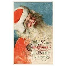 John Winsch Gorgeous Close Up Old World Santa Claus vintage Christmas Postcard