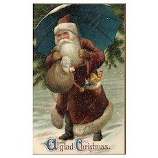 Superb Elegant Brown Robed Santa Claus with Turquoise Blue Umbrella Vintage Christmas Postcard