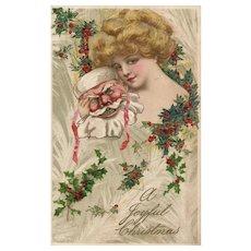 John Winsch Samuel Schmucker Beautiful woman with Santa Claus Mask Vintage Christmas postcard