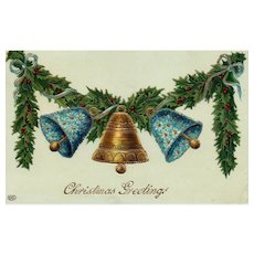 Gel Gold Metallic Gilt Embossed Gold and Blue Flower Bells Ringing On Garland Christmas Postcard