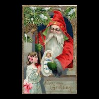 Vintage Gold Embossed Red Robed Santa Handing Child A Christmas Toy Postcard