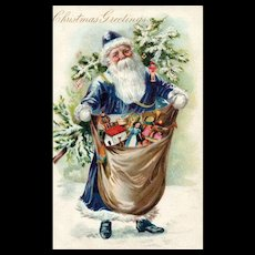 Fabulous Early Raphael Tuck Vintage Blue purple Robed Santa Claus postcard