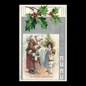 Beautiful Christmas Brown Robed Santa Claus about to give Children Gifts Postcard