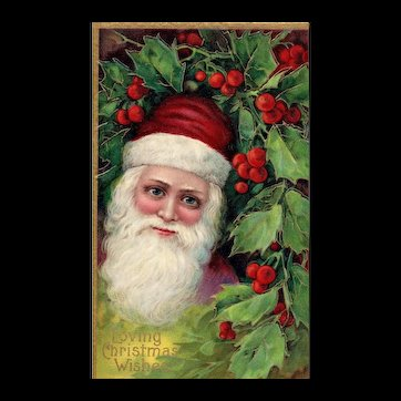 Blue eyed Santa Claus in Holly Bush vintage Christmas Postcard Series 1480
