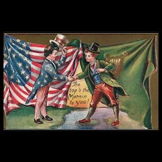 Fabulous St Patricks Day Patriotic Americana Uncle Sam Vintage Postcard
