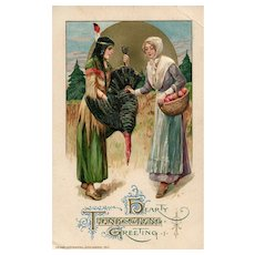 1910 John Winsch Thanksgiving Greeting Indian Maiden Pilgrim Turkey Postcard
