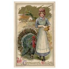 1910 John Winsch Samuel Schmucker  Gold Metallic Woman Turkey Thanksgiving Postcard