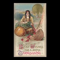 John Winsch Thanksgiving Indian Maiden prepares for the feast postcard