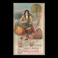John Winsch Thanksgiving Indian Maiden prepares for the feast postcard
