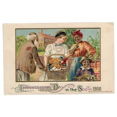 Rare 1912 John Winsch Thanksgiving Day in the South Black Americana Postcard