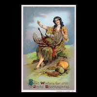 Beautiful Gold Gilt Gel Vintage Thanksgiving Postcard Maiden Indian with Bird