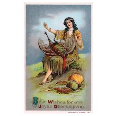 Beautiful Gold Gilt Gel Vintage Thanksgiving Postcard Maiden Indian with Bird