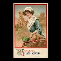 John Winsch 1911 Vintage Thanksgiving Postcard with Pilgrim Woman Harvest
