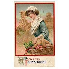 John Winsch 1911 Vintage Thanksgiving Postcard with Pilgrim Woman Harvest