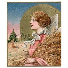 1911 John Winsch Samuel Schmucker Peaceful Thanksgiving Pilgrim with Moon Postcard
