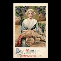 1911 John Winsch Thanksgiving by Samuel Schmucker Woman Holding Turkey Full Moon Grapes Vintage Postcard