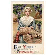 1911 John Winsch Thanksgiving by Samuel Schmucker Woman Holding Turkey Full Moon Grapes Vintage Postcard