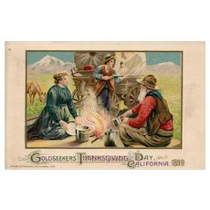 1912 John Winsch Gold Seekers Cowboys Covered wagon Thanksgiving Postcard