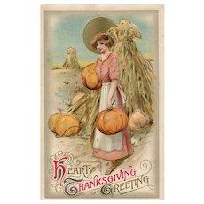 John Winsch Samuel Schmucker Pilgrim woman Thanksgiving Pumpkins Full moon Postcard